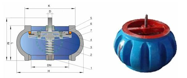 Ductile Iron Nozzle Ball Check Valve DN 600 PN16 With Silence And Wafer